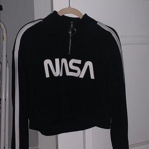 Black Cropped Half Zip up Nasa sweatshirt